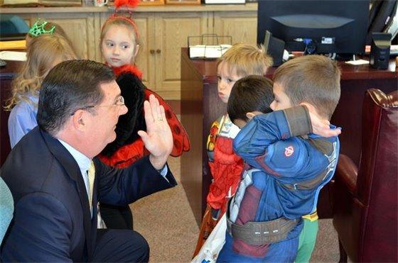 Little goblins visit City Hall